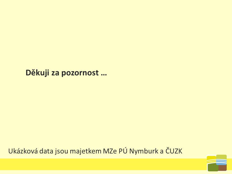 Ukázková data jsou majetkem MZe PÚ Nymburk a ČUZK Děkuji za pozornost …