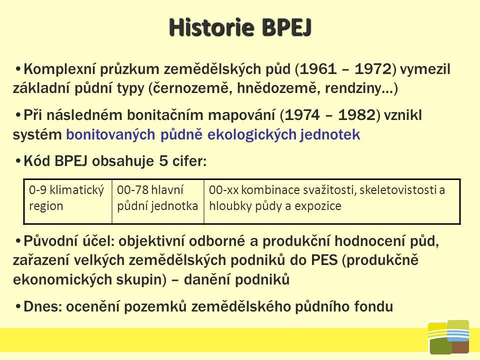 Historie BPEJ Komplexní průzkum zemědělských půd (1961 – 1972) vymezil základní půdní typy (černozemě, hnědozemě, rendziny…) Při následném bonitačním