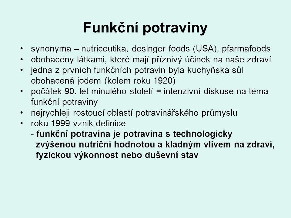 Funkční potraviny průkaznost příznivých účinků potraviny na lidské zdraví musí být založena na vědeckém základě dbát na doporučené dávkování na obale vypadají úplně stejně jako běžné potraviny žádný nápis funkční potravina na obalu nenajdeme