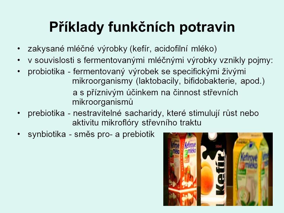 Příklady funkčních potravin bílkovinný plátek (výroba z vaječných bílků, obsahuje vysoké množství bílkovin, neobsahuje cholesterol, konzervanty ani chemické látky) lněné semínko (obsahuje ω3-MK - snižuje cholesterol, reguluje tlak, zlepšuje obranyschopnost organismu) pohanka (obsahuje rutin - blahodárný účinek na cévy) amarant (obsahuje 3x více lysinu - zlepšuje vstřebávání vápníku)