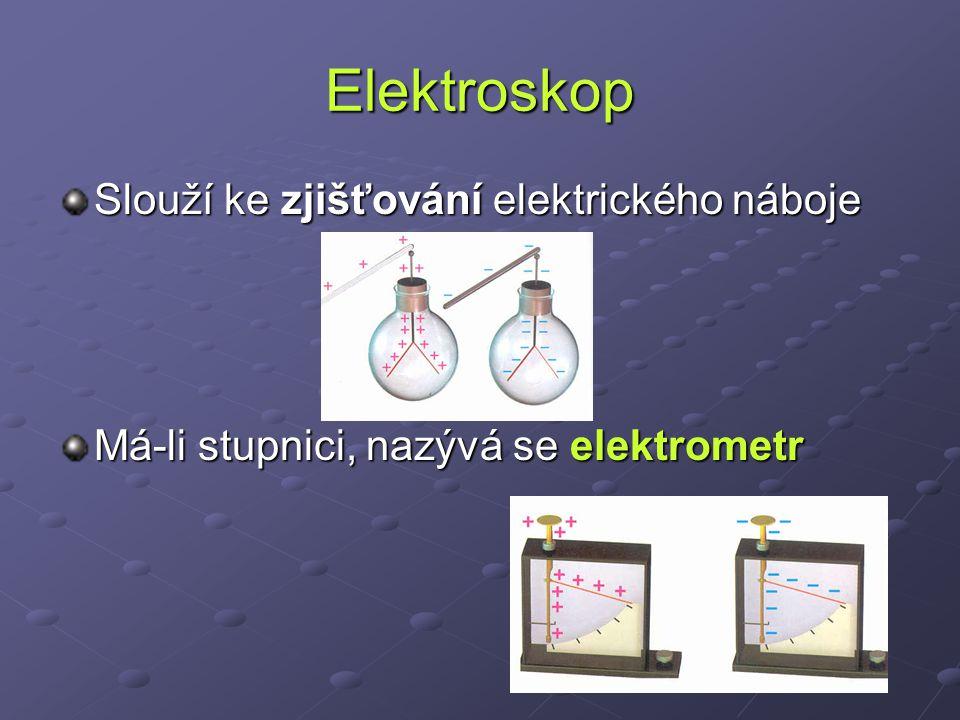 Elektroskop Slouží ke zjišťování elektrického náboje Má-li stupnici, nazývá se elektrometr