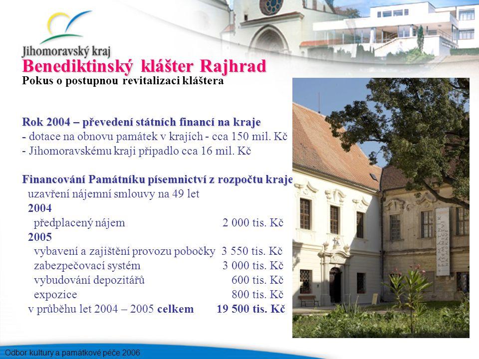 Odbor kultury a památkové péče 2006 Benediktinský klášter Rajhrad Pokus o postupnou revitalizaci kláštera Rok 2004 – převedení státních financí na kraje - - dotace na obnovu památek v krajích - cca 150 mil.