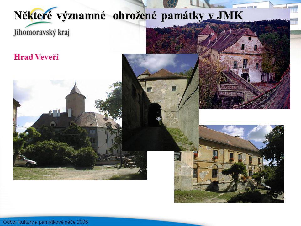 Odbor kultury a památkové péče 2006 Hrad Veveří Některé významné ohrožené památky v JMK