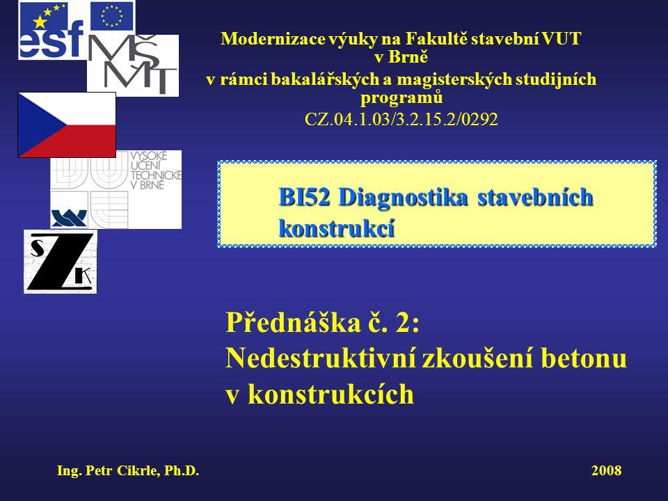 Tvrdoměr Schmidt N - schéma 1- beran2 – razník3 – pružina 4 – pouzdro 5 – ukazatel BI52 Diagnostika stavebních konstrukcí ÚSTAV STAVEBNÍHO ZKUŠEBNICTVÍ Modernizace výuky na Fakultě stavební VUT v Brně CZ.04.1.03/3.2.15.2/0292