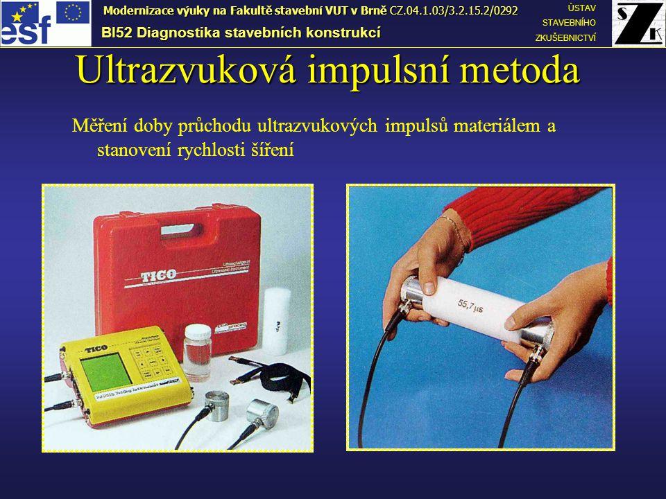 Ultrazvuková impulsní metoda Měření doby průchodu ultrazvukových impulsů materiálem a stanovení rychlosti šíření BI52 Diagnostika stavebních konstrukcí ÚSTAV STAVEBNÍHO ZKUŠEBNICTVÍ Modernizace výuky na Fakultě stavební VUT v Brně CZ.04.1.03/3.2.15.2/0292