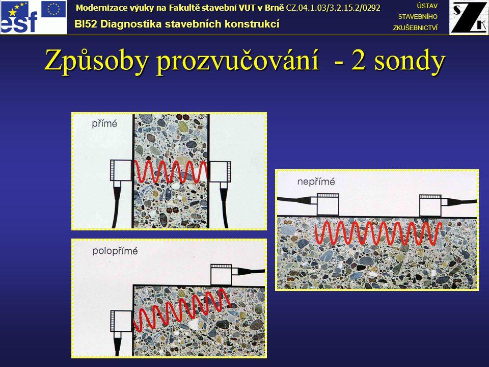 Způsoby prozvučování - 2 sondy BI52 Diagnostika stavebních konstrukcí ÚSTAV STAVEBNÍHO ZKUŠEBNICTVÍ Modernizace výuky na Fakultě stavební VUT v Brně CZ.04.1.03/3.2.15.2/0292
