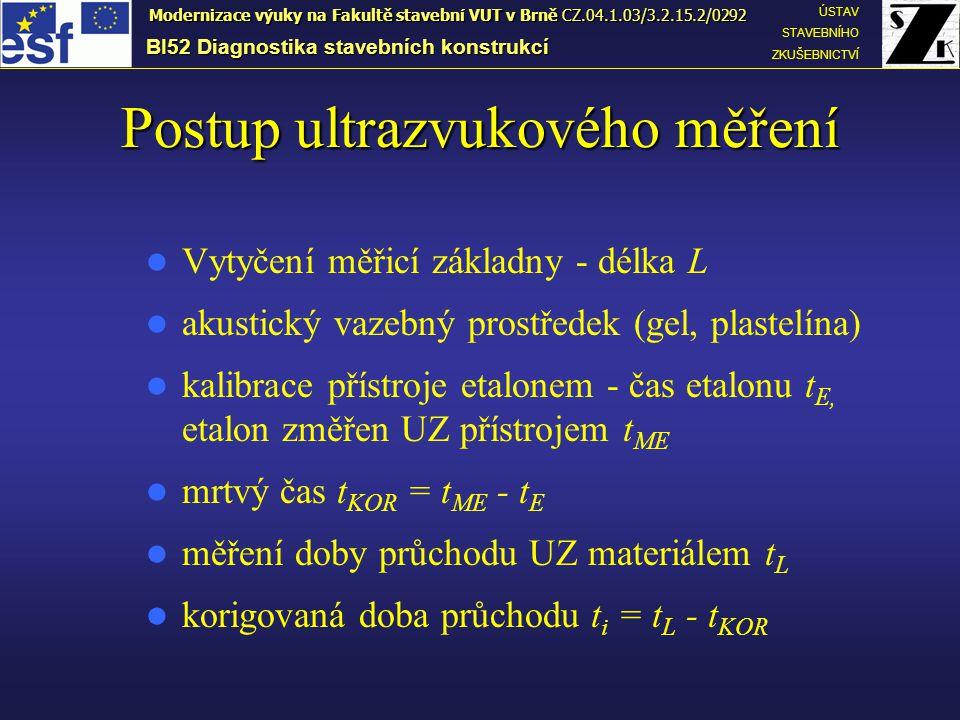 Postup ultrazvukového měření Vytyčení měřicí základny - délka L akustický vazebný prostředek (gel, plastelína) kalibrace přístroje etalonem - čas etalonu t E, etalon změřen UZ přístrojem t ME mrtvý čas t KOR = t ME - t E měření doby průchodu UZ materiálem t L korigovaná doba průchodu t i = t L - t KOR BI52 Diagnostika stavebních konstrukcí ÚSTAV STAVEBNÍHO ZKUŠEBNICTVÍ Modernizace výuky na Fakultě stavební VUT v Brně CZ.04.1.03/3.2.15.2/0292