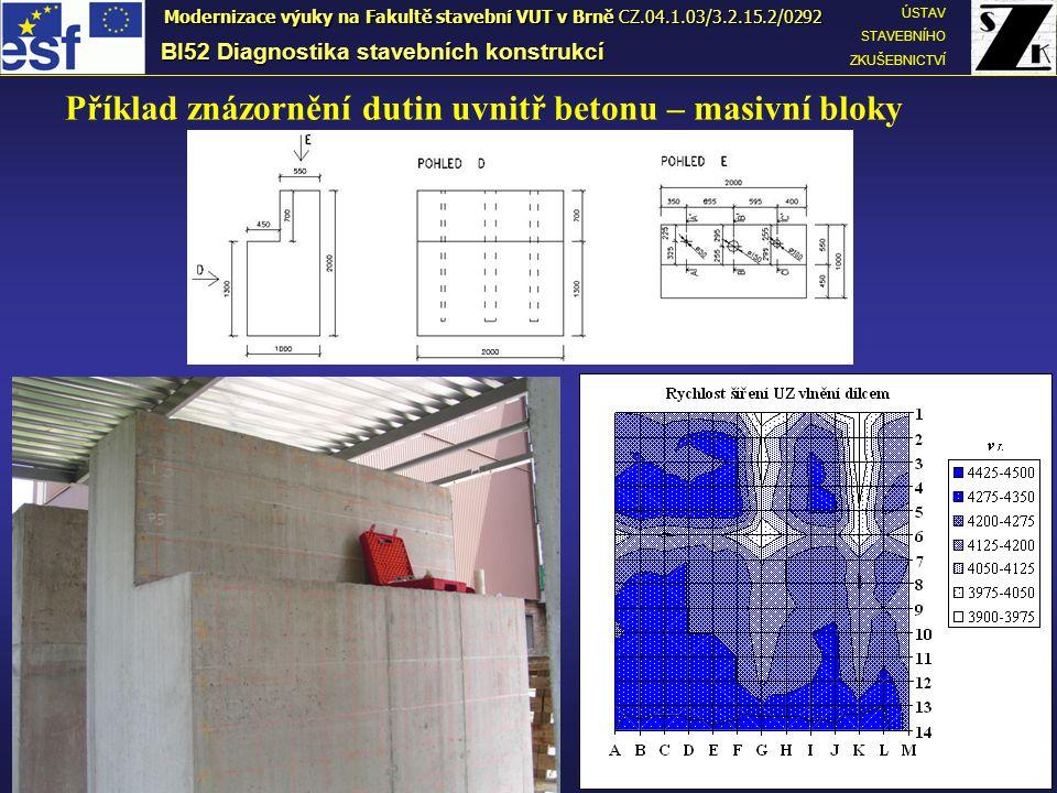 Příklad znázornění dutin uvnitř betonu – masivní bloky BI52 Diagnostika stavebních konstrukcí ÚSTAV STAVEBNÍHO ZKUŠEBNICTVÍ Modernizace výuky na Fakultě stavební VUT v Brně CZ.04.1.03/3.2.15.2/0292
