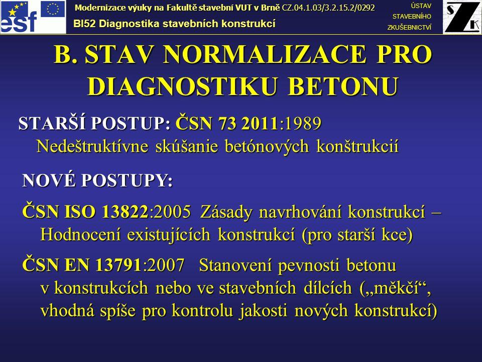 Navazující zkušební postupy ČSN 73 1370 Nedestruktivní zkoušení betonu - spol.