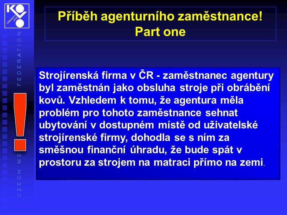 C Z E C H M E T A L W O R K E R S' F E D E R A T I O N Strojírenská firma v ČR - zaměstnanec agentury byl zaměstnán jako obsluha stroje při obrábění kovů.