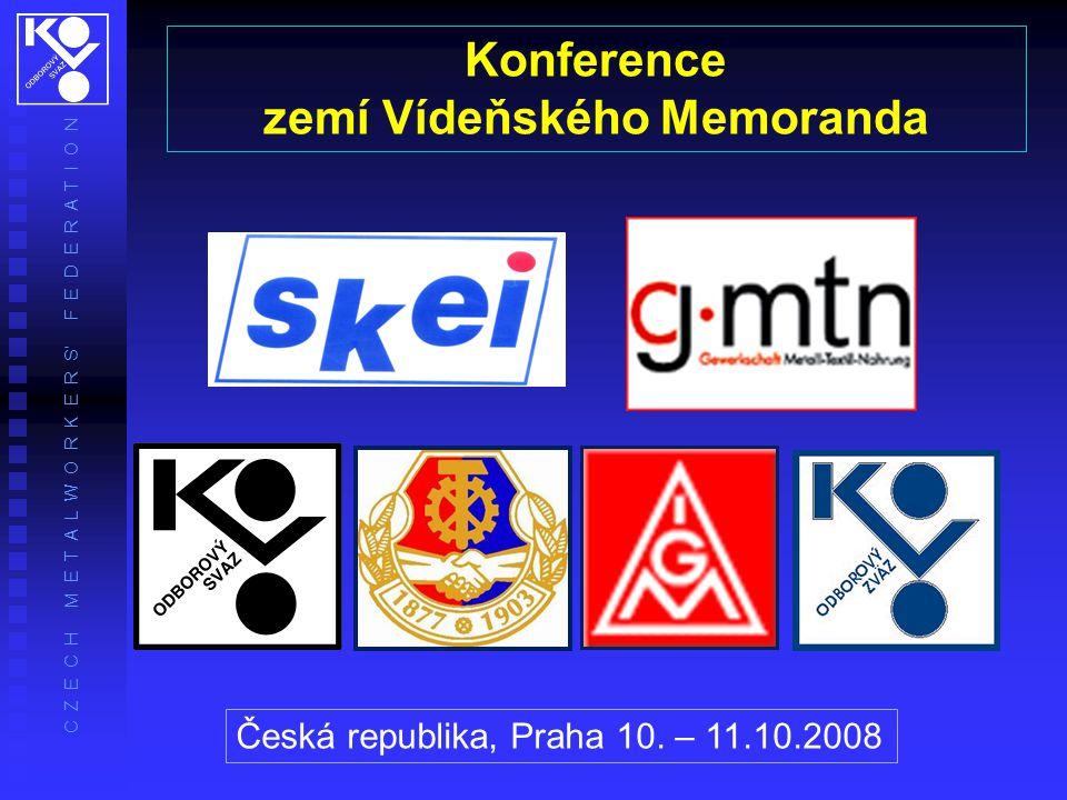 C Z E C H M E T A L W O R K E R S' F E D E R A T I O N Konference zemí Vídeňského Memoranda Česká republika, Praha 10.