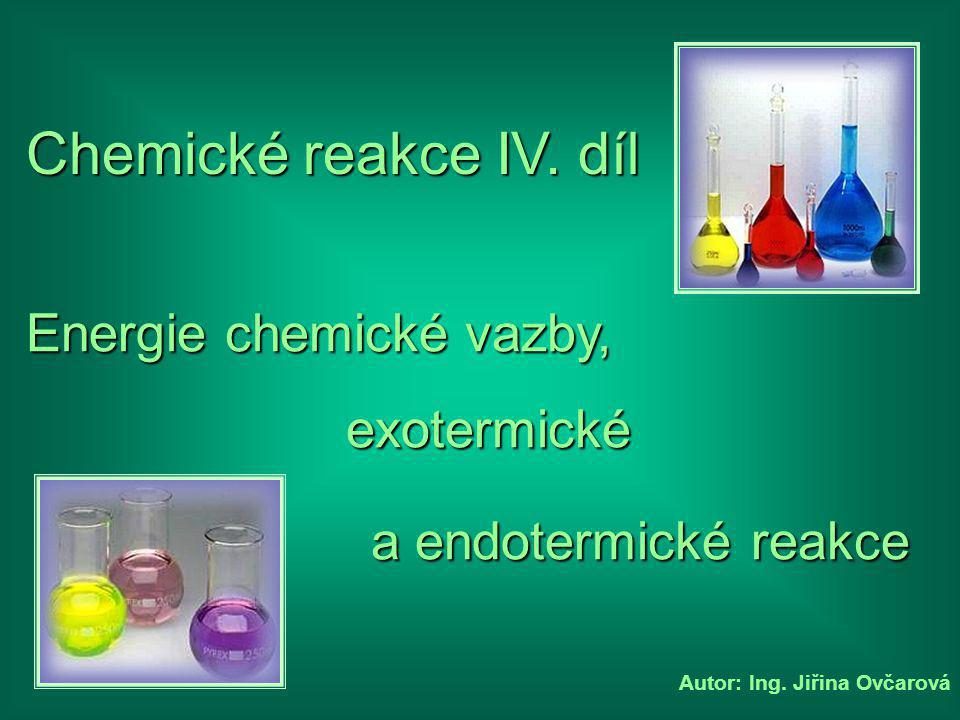 Autor: Ing.Jiřina Ovčarová Chemické reakce IV.