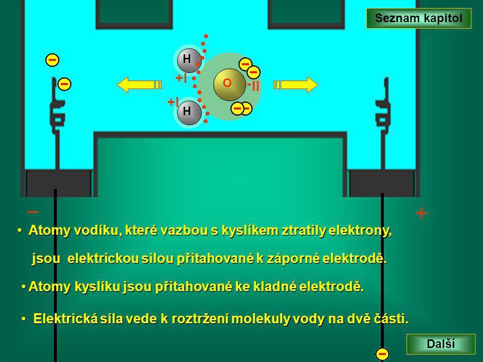 _ + Seznam kapitol Další A Atomy vodíku, které vazbou s kyslíkem ztratily elektrony, jsou elektrickou silou přitahované k záporné elektrodě.