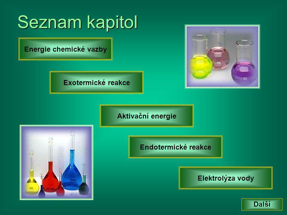 K Každá chemická vazba mezi atomy reprezentuje určité množství energie.