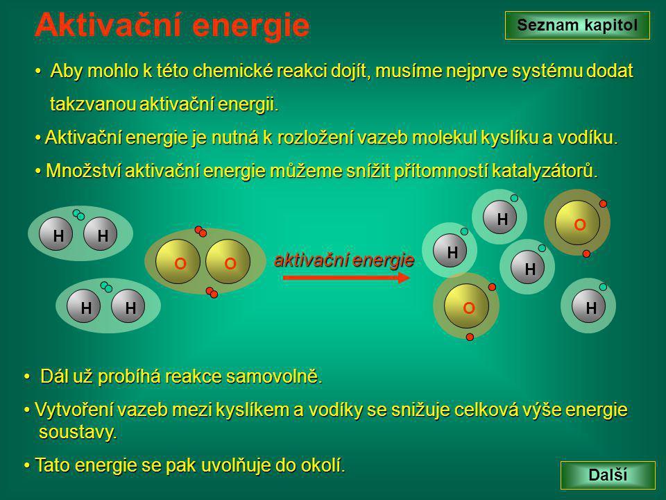 Chemické reakce samovolně probíhají proto, aby bylo dosaženo rovnovážného stavu.