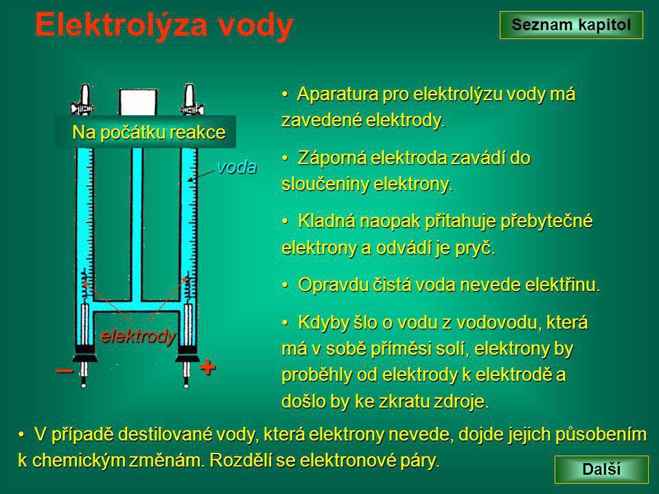 Seznam kapitol Další Elektrolýza vody V V případě destilované vody, která elektrony nevede, dojde jejich působením k chemickým změnám.