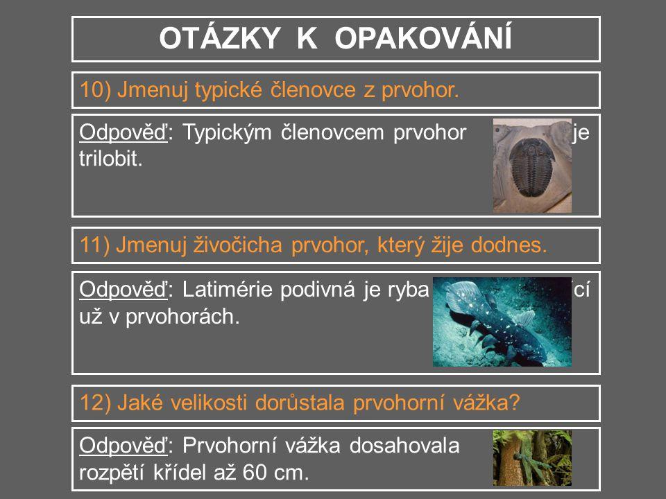 OTÁZKY K OPAKOVÁNÍ 10) Jmenuj typické členovce z prvohor. Odpověď: Typickým členovcem prvohor je trilobit. 11) Jmenuj živočicha prvohor, který žije do