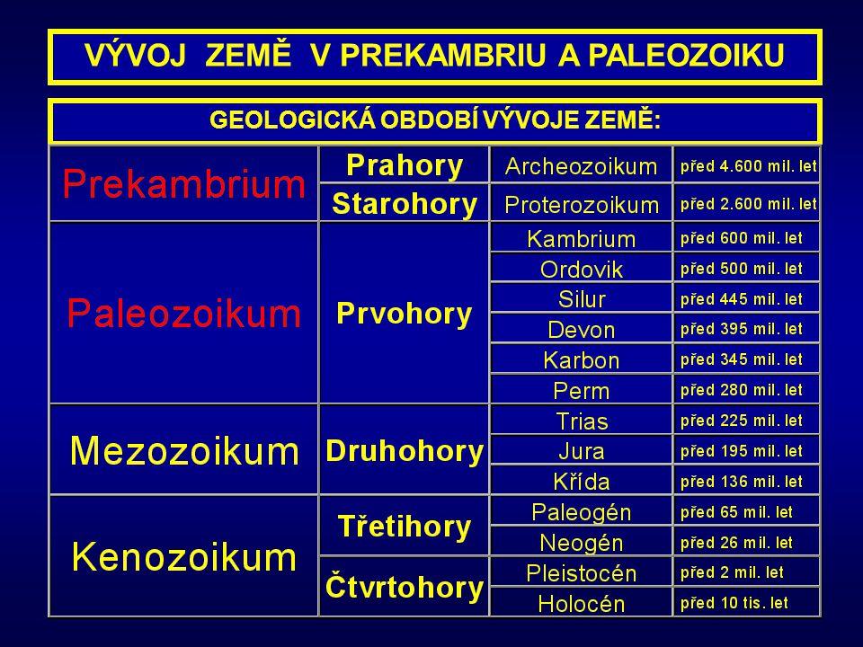 GEOLOGICKÁ OBDOBÍ VÝVOJE ZEMĚ: