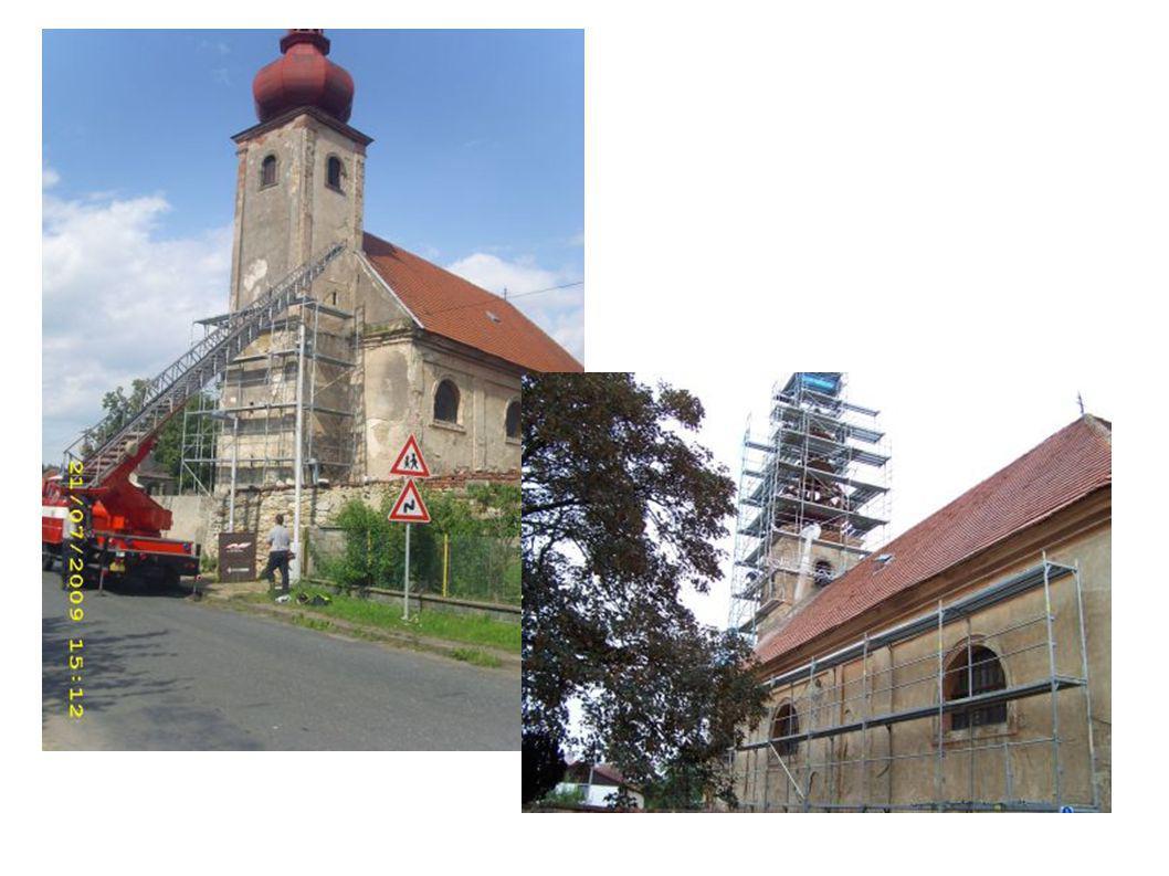 Rozsah I. etapy Rekonstrukce západní věže ( zahrnuje především práce týkající se statického zajištění narušené tesařské konstrukce krovu a následné úp