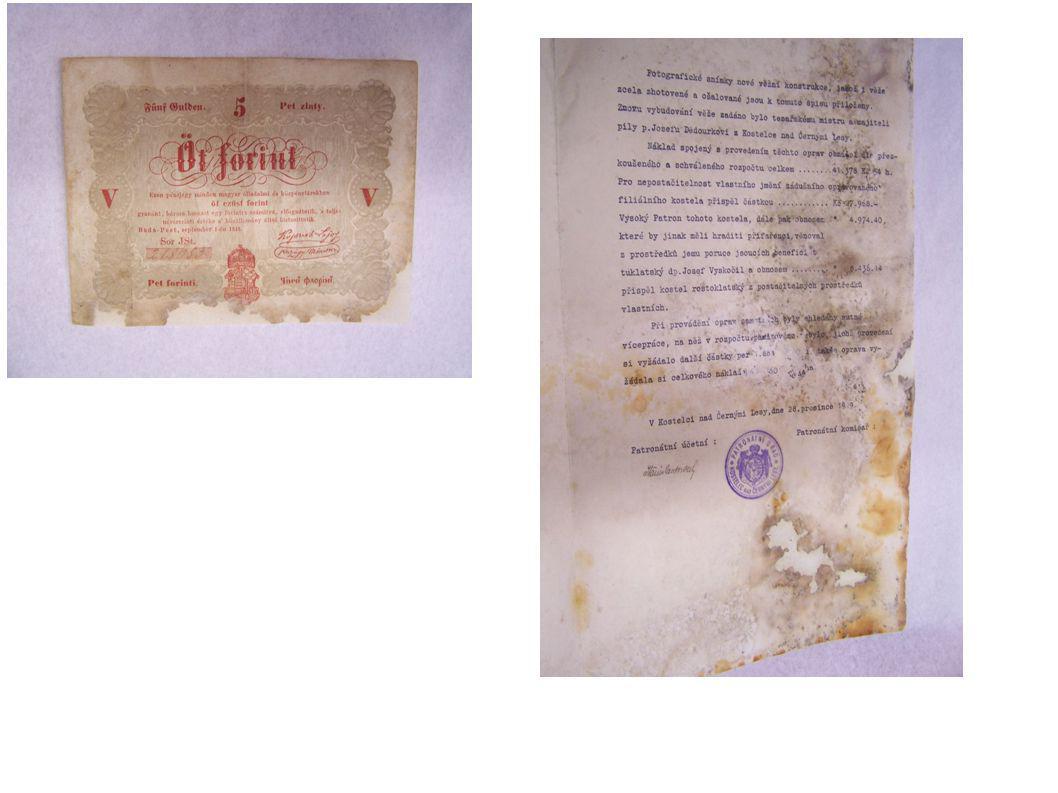 Restaurování dokumentů dezinfekci provedl Národní památkový ústav v Praze restaurování poškozených dokumentů provedla fakulta restaurování v Litomyšli