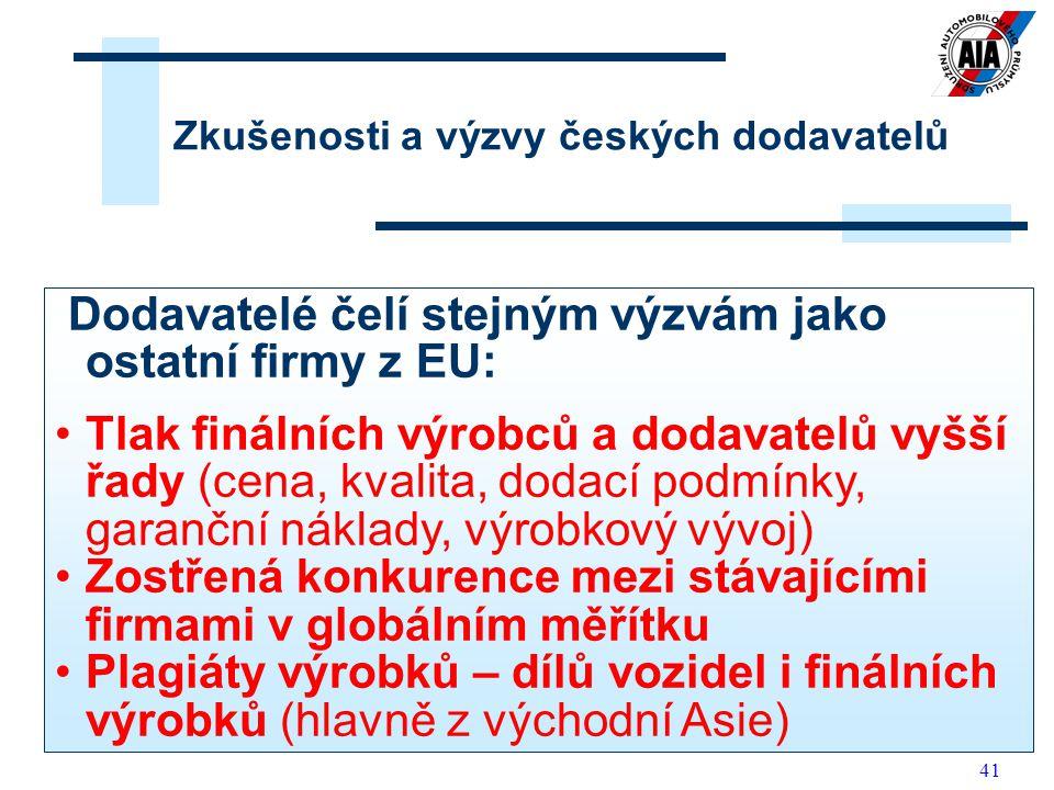 41 Zkušenosti a výzvy českých dodavatelů Dodavatelé čelí stejným výzvám jako ostatní firmy z EU: Tlak finálních výrobců a dodavatelů vyšší řady (cena,