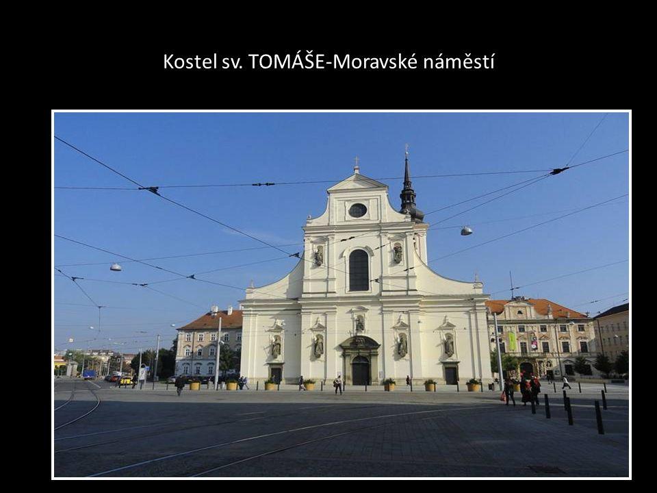ORIENTAČNÍ MAPA-CENTRA BRNA kde jsou uvedeny ulice-třídy a také KOSTELY-označeno bílým křížem na černém podkladu..