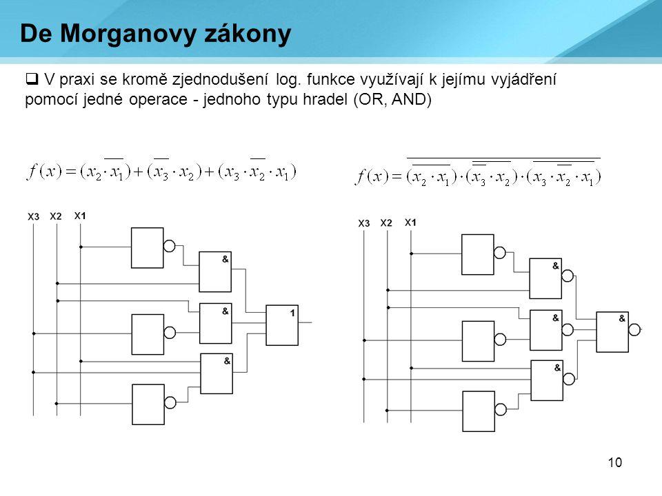 10 De Morganovy zákony  V praxi se kromě zjednodušení log. funkce využívají k jejímu vyjádření pomocí jedné operace - jednoho typu hradel (OR, AND)