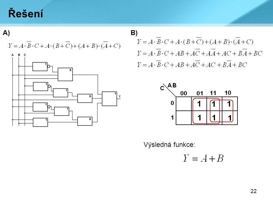 22 A) Řešení B) Výsledná funkce: