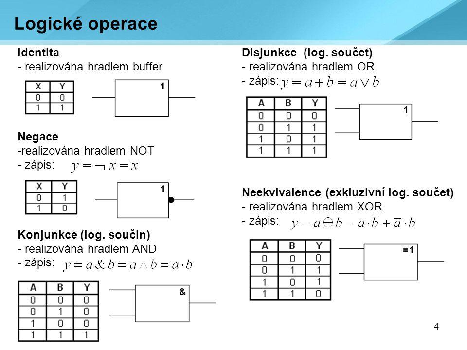 5 Hradla NOTXOR ORNOR ANDNAND Používané značení hradel: a) EU, b) US, c) ČSN, d) IEC