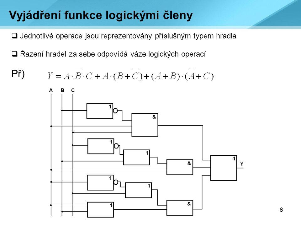 6  Jednotlivé operace jsou reprezentovány příslušným typem hradla  Řazení hradel za sebe odpovídá váze logických operací Př) Vyjádření funkce logick