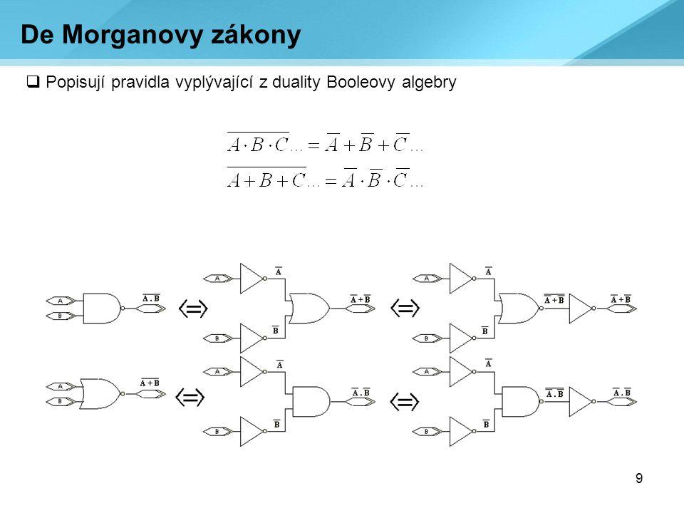 9  Popisují pravidla vyplývající z duality Booleovy algebry De Morganovy zákony