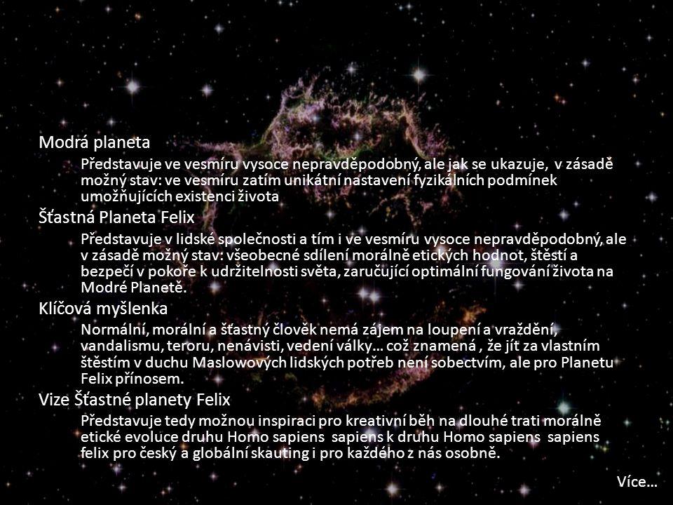 Modrá planeta Představuje ve vesmíru vysoce nepravděpodobný, ale jak se ukazuje, v zásadě možný stav: ve vesmíru zatím unikátní nastavení fyzikálních podmínek umožňujících existenci života Šťastná Planeta Felix Představuje v lidské společnosti a tím i ve vesmíru vysoce nepravděpodobný, ale v zásadě možný stav: všeobecné sdílení morálně etických hodnot, štěstí a bezpečí v pokoře k udržitelnosti světa, zaručující optimální fungování života na Modré Planetě.