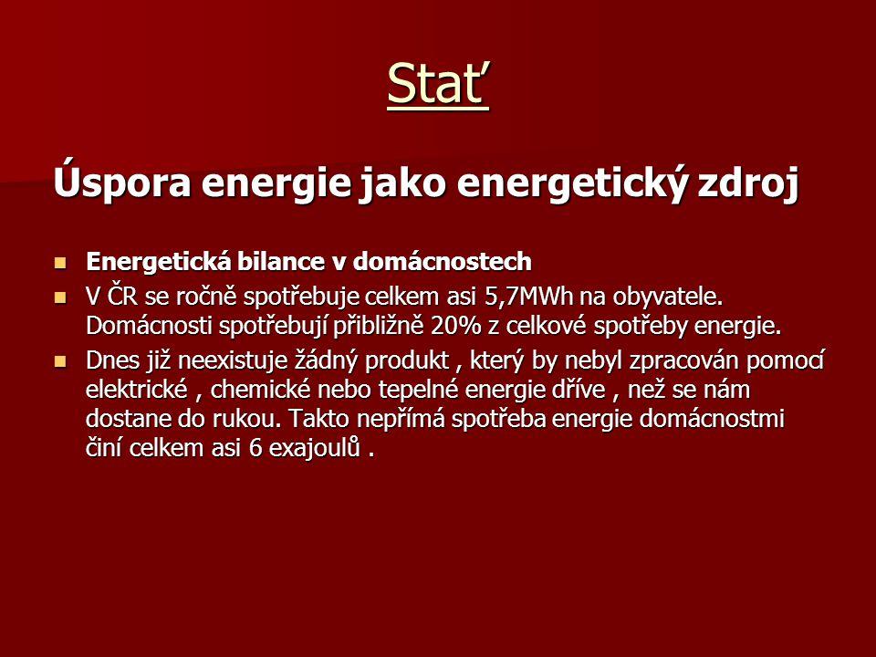Stať Úspora energie jako energetický zdroj Energetická bilance v domácnostech Energetická bilance v domácnostech V ČR se ročně spotřebuje celkem asi 5,7MWh na obyvatele.