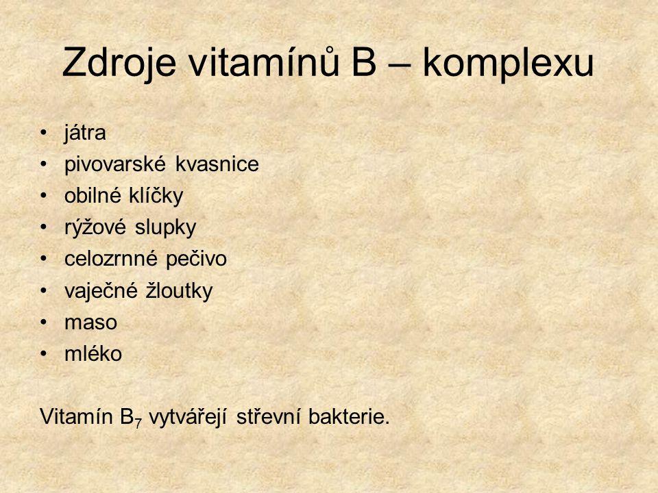 Vitamín C VÝZNAM : zvyšuje odolnost proti chorobám význam v prevenci proti rakovině – antioxidant důležitý pro tvorbu bílkoviny kolagenu v těle VÝSKYT: šípky, pažitka, černý rybíz, zelí, jahody, citrusové plody, křen, paprika, brambory MOŽNÉ POTÍŽE PŘI NEDOSTATKU: krvácení dásní při kousání a čištění zubů, rychlejší stárnutí provázené vznikem svraštělin a tmavých skvrn na pokožce Ke ztrátě účinků vitamínu C dochází: Reakcí s kyslíkem, varem, zmrazením a stykem s některými kovy (Al, Fe, Cu).