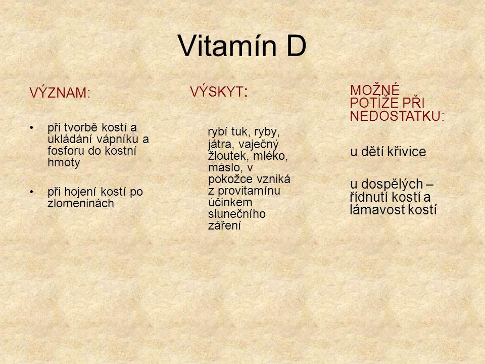 Vitamín E VÝZNAM : významný antioxidant pro správnou činnost pohlavní soustavy zvyšuje sexuální výkonnost působí protizánětlivě usnadňuje hojení ran VÝSKYT : ořechy, luštěniny celozrnné pečivo oleje lisované za studena MOŽNÉ POTÍŽE PŘI NEDOSTATKU : křeče v lýtkách (pokud nejsou způsobeny nedostatkem jiných látek)
