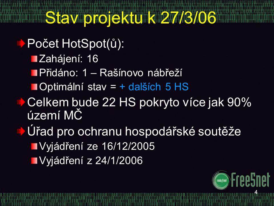4 Stav projektu k 27/3/06 Počet HotSpot(ů): Zahájení: 16 Přidáno: 1 – Rašínovo nábřeží Optimální stav = + dalších 5 HS Celkem bude 22 HS pokryto více