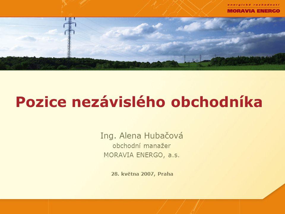Ing.Alena Hubačová obchodní manažer MORAVIA ENERGO, a.s.