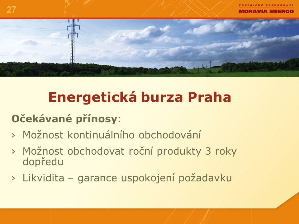 Energetická burza Praha 27 Očekávané přínosy: ›Možnost kontinuálního obchodování ›Možnost obchodovat roční produkty 3 roky dopředu ›Likvidita – garance uspokojení požadavku
