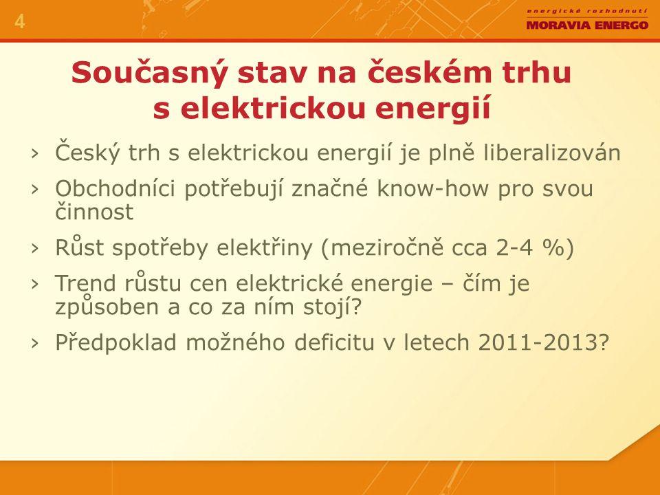 Současný stav na českém trhu s elektrickou energií 4 ›Český trh s elektrickou energií je plně liberalizován ›Obchodníci potřebují značné know-how pro svou činnost ›Růst spotřeby elektřiny (meziročně cca 2-4 %) ›Trend růstu cen elektrické energie – čím je způsoben a co za ním stojí.