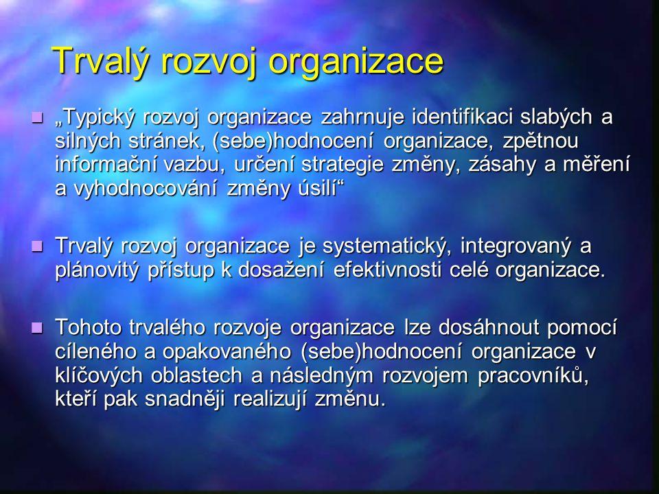 """Trvalý rozvoj organizace """"Typický rozvoj organizace zahrnuje identifikaci slabých a silných stránek, (sebe)hodnocení organizace, zpětnou informační va"""