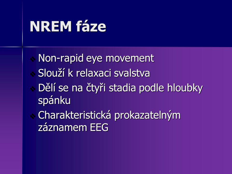 NREM fáze  Non-rapid eye movement  Slouží k relaxaci svalstva  Dělí se na čtyři stadia podle hloubky spánku  Charakteristická prokazatelným záznam