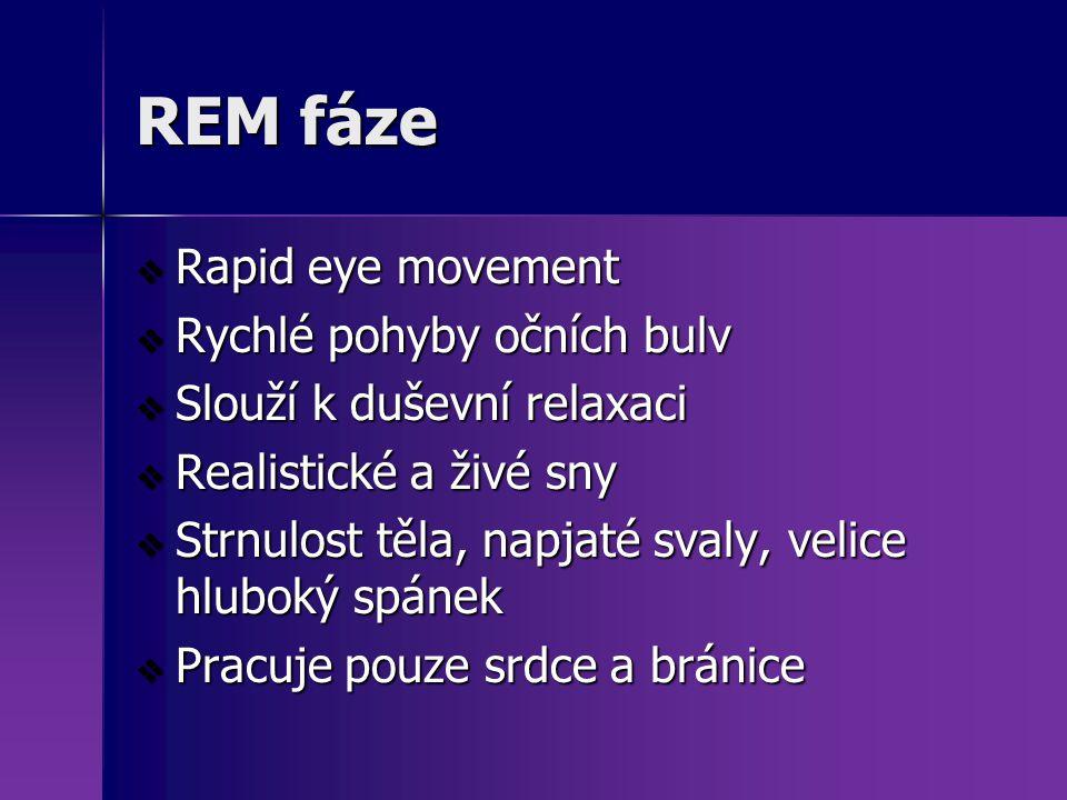 REM fáze  Rapid eye movement  Rychlé pohyby očních bulv  Slouží k duševní relaxaci  Realistické a živé sny  Strnulost těla, napjaté svaly, velice