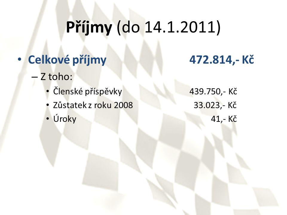Příjmy (do 14.1.2011) Celkové příjmy472.814,- Kč – Z toho: Členské příspěvky439.750,- Kč Zůstatek z roku 2008 33.023,- Kč Úroky 41,- Kč