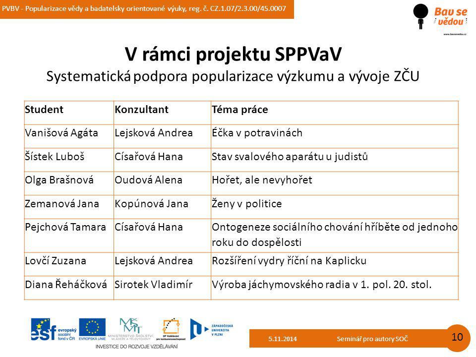 PVBV - Popularizace vědy a badatelsky orientované výuky, reg. č. CZ.1.07/2.3.00/45.0007 14.10.2014 10 V rámci projektu SPPVaV Systematická podpora pop