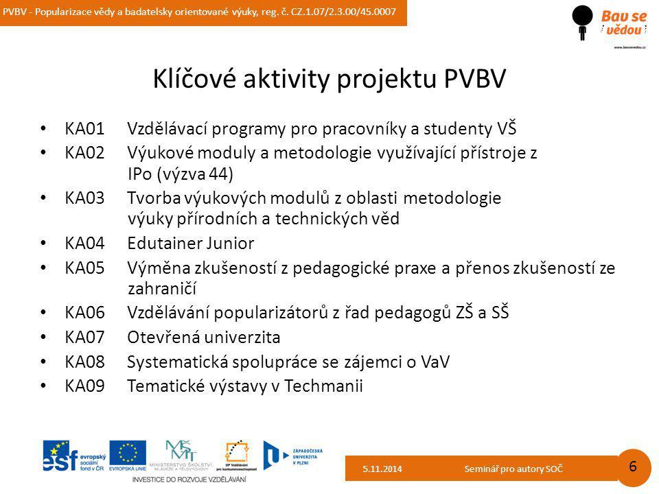 PVBV - Popularizace vědy a badatelsky orientované výuky, reg. č. CZ.1.07/2.3.00/45.0007 14.10.2014 6 Klíčové aktivity projektu PVBV KA01 Vzdělávací pr