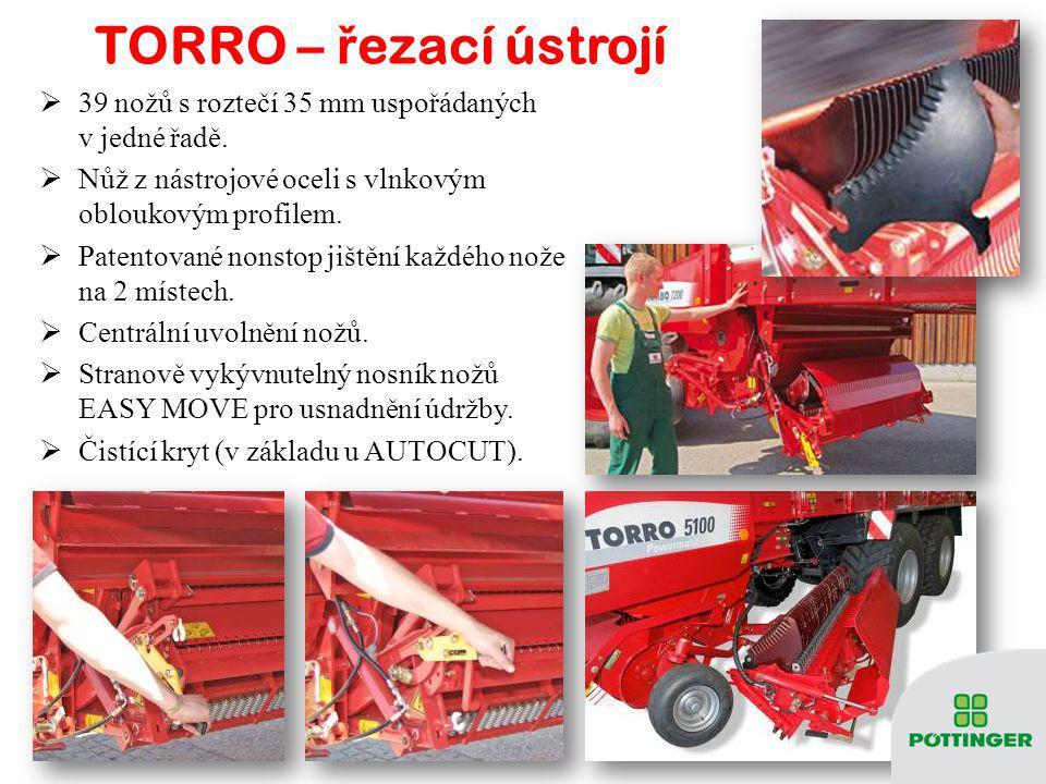 TORRO - pohon, sb ě ra č, rotor  Vysoce dimenzovaný pohon s oboustranným širokoúhlým hřídelem s jistícím momentem 2100 Nm pro traktory s výkonem až 3