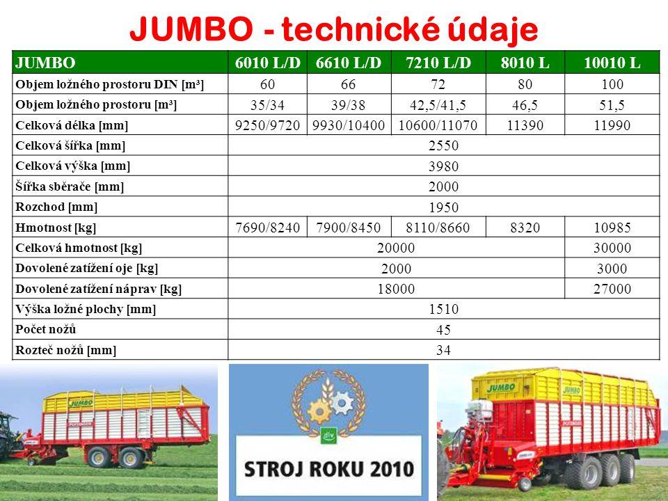 JUMBO 6010 / 6610 / 7210 / 8010 / 10010 Velkoobjemové vozy pro sklizeň senáže, sena, slámy a odvoz kukuřice
