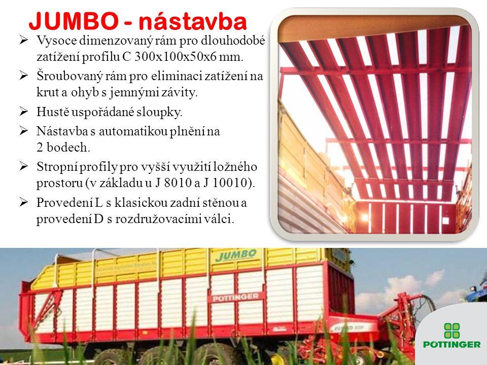 JUMBO 10010 – podlahový dopravník  3 páry řetězů dopravníku + 2 dvourychlostní hydromotory - rovnoměrné zatížení ložisek i hřídelí, maximální rychlost dopravníku až 18,8 m/min.