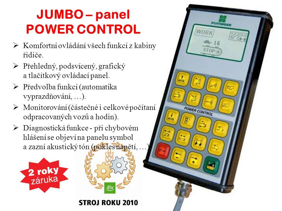 JUMBO – panel POWER CONTROL  Komfortní ovládání všech funkcí z kabiny řidiče.