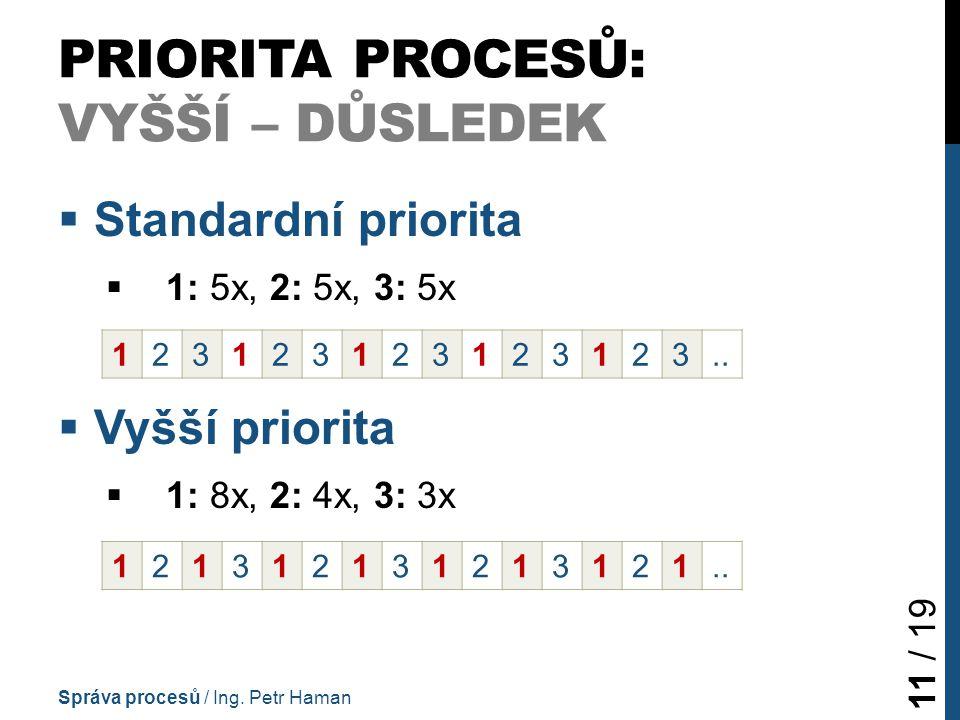 PRIORITA PROCESŮ: VYŠŠÍ – DŮSLEDEK  Standardní priorita  1: 5x, 2: 5x, 3: 5x  Vyšší priorita  1: 8x, 2: 4x, 3: 3x Správa procesů / Ing.